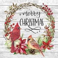 Cardinal Christmas Wreath Fine Art Print