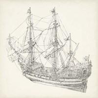 Antique Ship Sketch I Fine Art Print