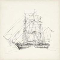 Antique Ship Sketch II Fine Art Print