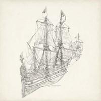Antique Ship Sketch III Fine Art Print