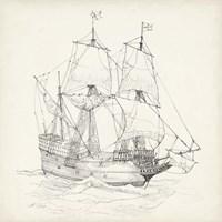 Antique Ship Sketch IV Fine Art Print