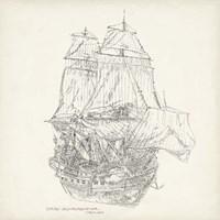 Antique Ship Sketch V Fine Art Print