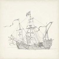 Antique Ship Sketch VI Fine Art Print