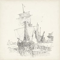 Antique Ship Sketch VII Fine Art Print