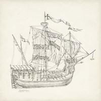 Antique Ship Sketch VIII Fine Art Print
