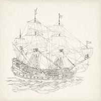 Antique Ship Sketch IX Fine Art Print
