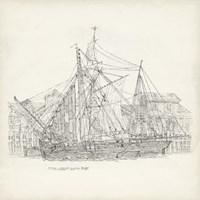 Antique Ship Sketch X Fine Art Print