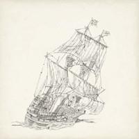 Antique Ship Sketch XI Fine Art Print
