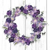 Purple Tulip Wreath I Framed Print