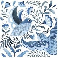 Blue Bird Folk I Framed Print