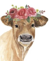 Flowered Cow I Framed Print