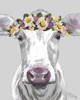 Cow Mabel With Flowers On Gray Framed Print