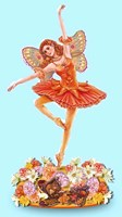 Autumn Ballet Figurine Blue Background Fine Art Print