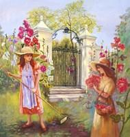 Holly Hocks - Garden Gates Fine Art Print