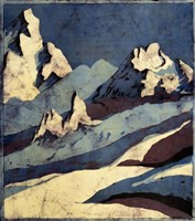 Snowy Mountains in Moon Light Batik Fine Art Print