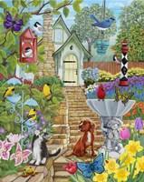 Vintage Bird Feeder Garden Fine Art Print