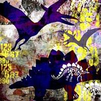 Painted Dino 1 Grunge Fine Art Print