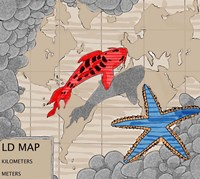 Red Fish Over Chart Fine Art Print