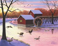 Canadian Geese at the Old Grist Mill #2 Fine Art Print