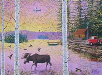 Moose Lodge with Float Plane Fine Art Print