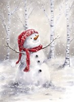 Snowman in Wood Fine Art Print