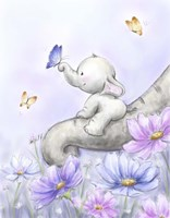 Elephant with Butterfly Fine Art Print