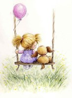 Girl and Dog on Swing Fine Art Print