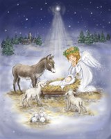 Nativity with angel Fine Art Print