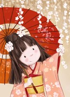 Japanese Girl with Umbrella Fine Art Print