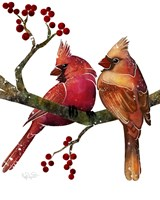 Songbirds- Cardinals and Berries Fine Art Print