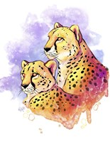 Watercolor Safari- Cheetahs Fine Art Print