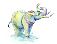 Watercolor Safari- Green Elephant Fine Art Print