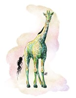 Watercolor Safari- Green Giraffe Fine Art Print