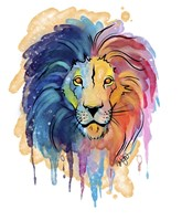 Watercolor Safari- Rainbow Lion Fine Art Print