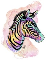 Watercolor Safari- Rainbow Zebra Fine Art Print
