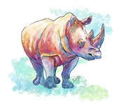 Watercolor Safari- Rhino Fine Art Print