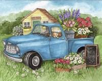 Blue Truck Flowers Hello Spring Fine Art Print