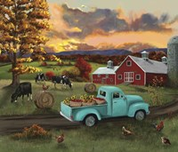 Barn Fall Leaves Sunset Fine Art Print