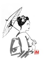 Geisha And Umbrella 2 Fine Art Print