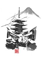 Fuji San And Temple Fine Art Print