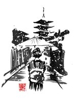 Geisha In The Snow Fine Art Print