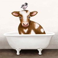 Cow in Bathtub Framed Print