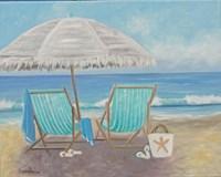 Striped Beach Chairs Fine Art Print