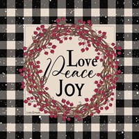 Love Peace Joy with Berries Framed Print