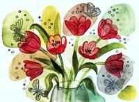 Flowers And Butterflies Fine Art Print