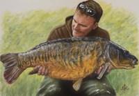 Fisherman and Mirror Carp Fine Art Print