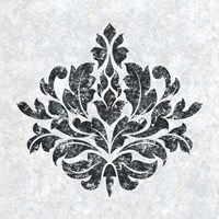 Textured Damask I on white Fine Art Print