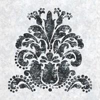 Textured Damask II on white Fine Art Print