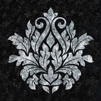 Textured Damask I on black Fine Art Print