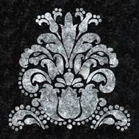Textured Damask II on black Fine Art Print